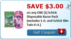 New Coupon!  Save $3.00 on any ONE (1) Schick Disposable Razor Pack (excludes 1 ct. and Schick Slim Twin 6 ct.) - http://www.stacyssavings.com/new-coupon-save-3-00-on-any-one-1-schick-disposable-razor-pack-excludes-1-ct-and-schick-slim-twin-6-ct/