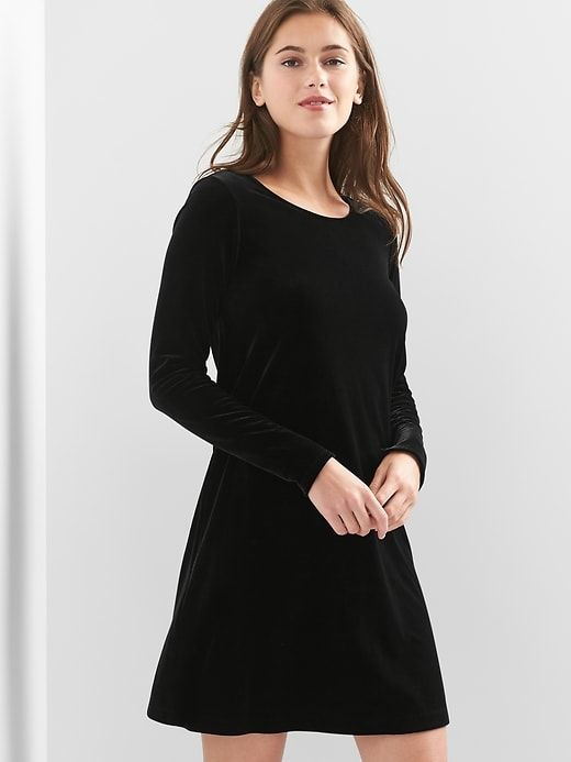 Gap Womens Velvet Swing Dress True Black