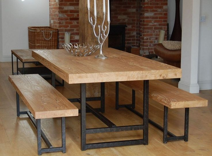wooden table with bench and chairs