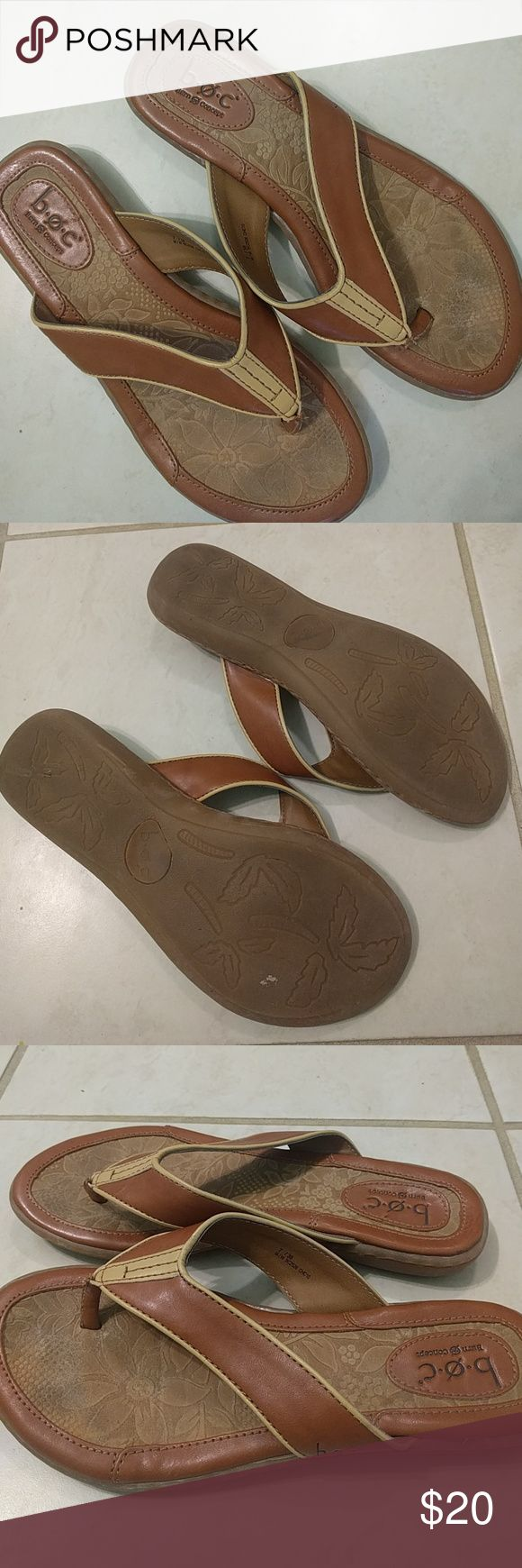 Born lightly used flip flops Born brown and cream flip flops very comfortable b.o.c. Shoes Sandals