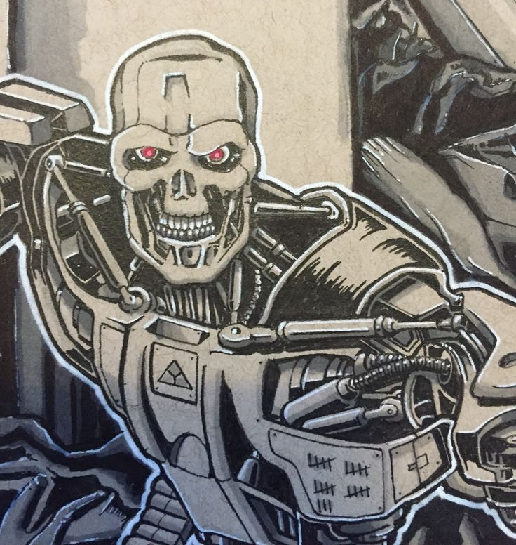 Close up detail of rouge terminator. ( fine liner & copic markers on tonal ) by Huw Williams