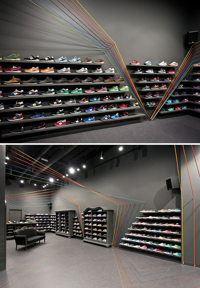 Run Colors trainer store by Mode:lina Architekci (rope installation inspired by shoelaces)