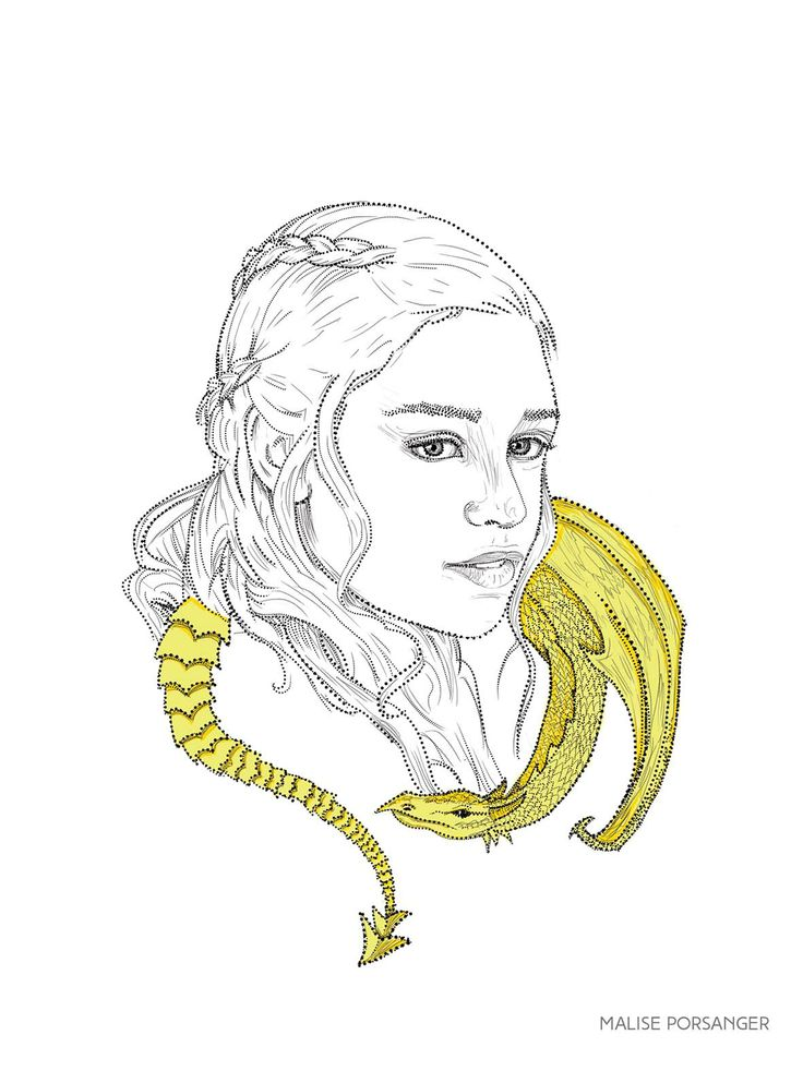 Khaleesi with one of her dragons. Daenerys Targaren Game of Thrones illustration