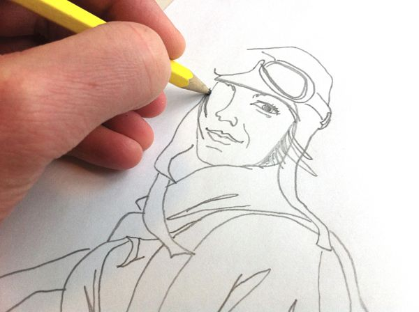"""Work in progress, Amelia Earhart. -""""Wall of Femme"""" is a series of portraits of five strong and inspiring women by Illustrator Christina Heitmann. See more images and read the full stories behind each of these amazing women (Amelia Earhart, Malala Yousafzai, Simone de Beauvoir, Xinran Xue, Agnes Pareyio) on https://www.behance.net/gallery/Wall-of-Femme/15382065 #rolemodel #brave #women #illustration #illustrations #drawing"""
