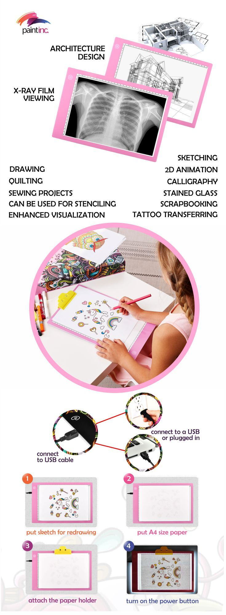 Just buy in AMAZON our tracing pad, led board, digital sketch pad, drawing board, drawing kit, led light box, light pad, tracing light box, drawing pad, light table for art drawings, art activities for kids, etc.