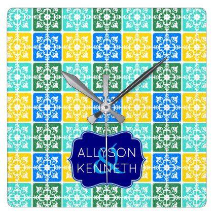 Trendy Resort Fashion Mediterranean Tiles Monogram Square Wall Clock - traditional gift idea diy unique