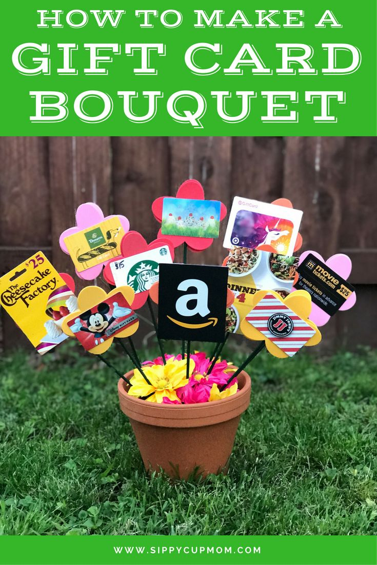 How To Make a Gift Card Bouquet Gift card bouquet, Gift