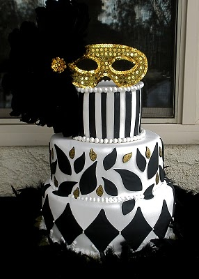 Black, white, & gold masquerade birthday cake. From simplysweettreats.blogspot.com