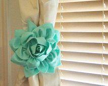 TWO Dahlia Flower Curtain Tie Backs Curtain Tiebacks Curtain Holdback -Drapery Tieback-Baby Nursery Decor- Mint Green Decor