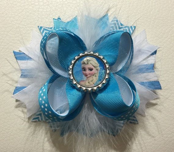 Frozen Elsa Hair Bow , Disney Princess Hair Bow , Princess Hair Clip, Frozen Hair Bow , Disney Frozen Hair Bow , Girls Hair Bows