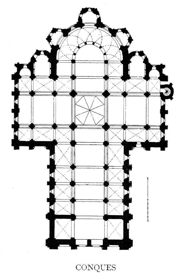 Planta de la iglesia abacial de Santa Fe de Conques (Aquitania).