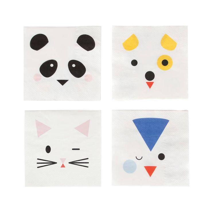 Beestenboel (Mini Animals) Servetjes, 20 stuks | Hieppp - Hieppp    panda, hond, penguin en poes