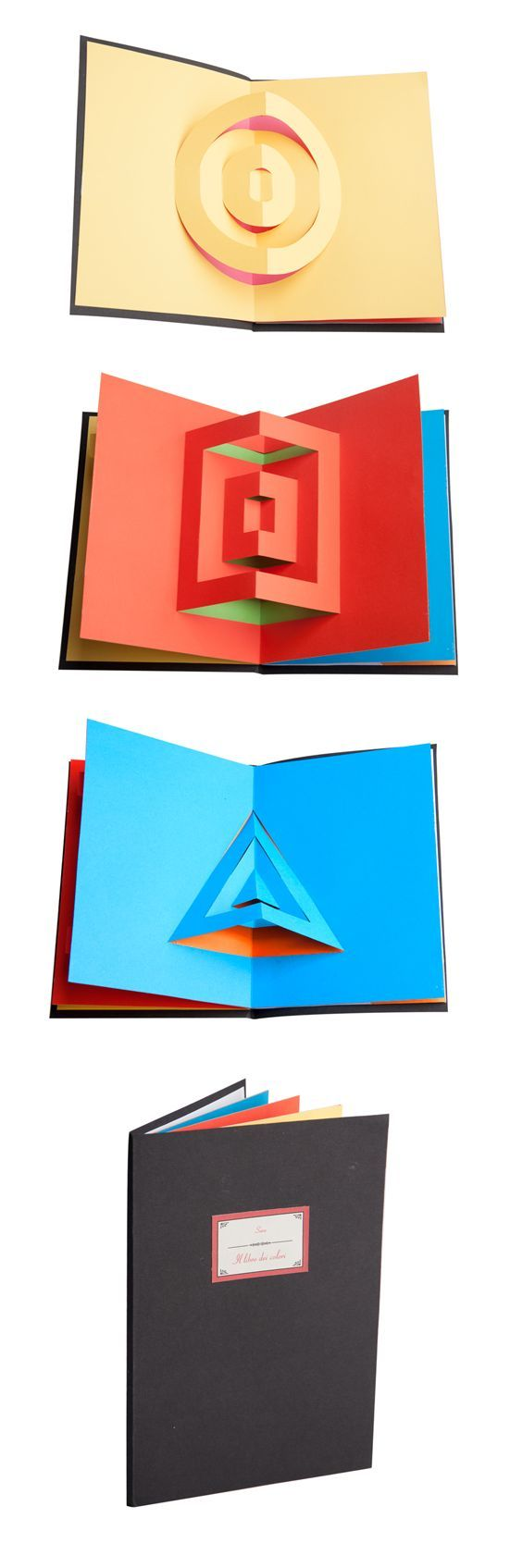 inside view of pop-up cards with simple geometric shapes ...