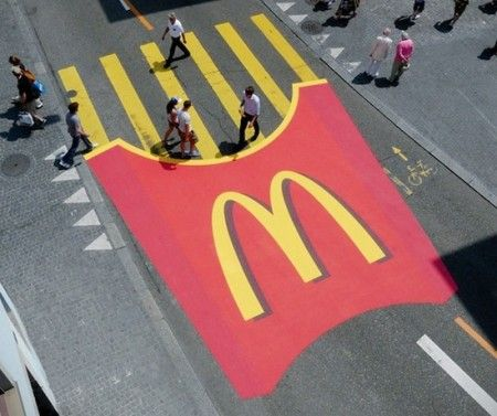 McDonalds Guerilla Marketing -- I love this. Something people definitely will not forget! Also, it really makes me want french fries.