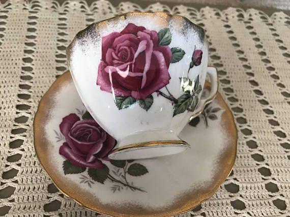Adderley Bone China Rose Tea Cup and Saucer