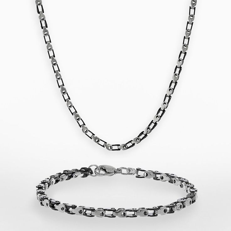 """Lynx Black Ion-Plated Stainless Steel and Stainless Steel Bike Chain Necklace and Bracelet Set - Men, Size: 22"""", Grey"""
