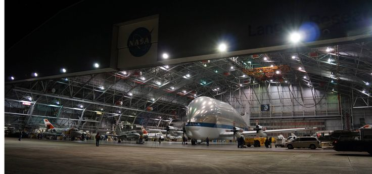 NASA's Super Guppy aircraft, designed to transport extremely large cargo, rests after making a special delivery to the NASA Langley Research Center in Hampton, Virginia.
