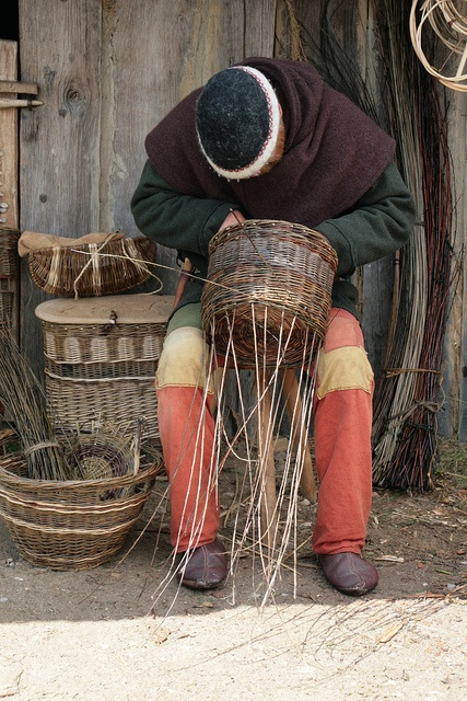 Haithabu - basketry and bonus shot of a basket backpack in the background