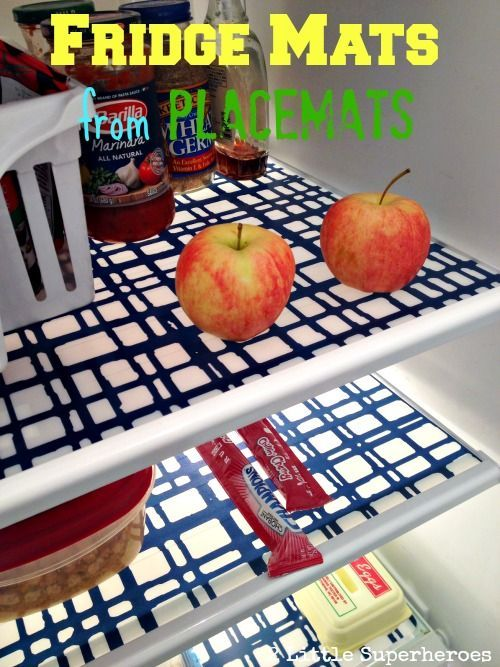 $2 DIY Fridge Mats From Vinyl Placemats...I love this idea...definitely going to do it as I HATE cleaning the fridge.