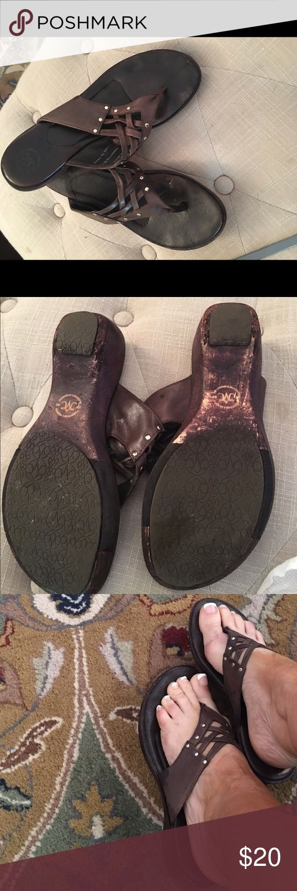 Johnston Murphy brown sandals Used Johnston and Murphy sandals Johnston & Murphy Shoes Sandals
