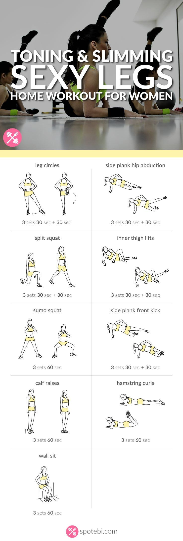 Get lean and strong with this sexy legs workout. 9 toning and slimming leg exercises to work your inner and outer thighs, hips, quads, hamstrings and calves. www.spotebi.com/...