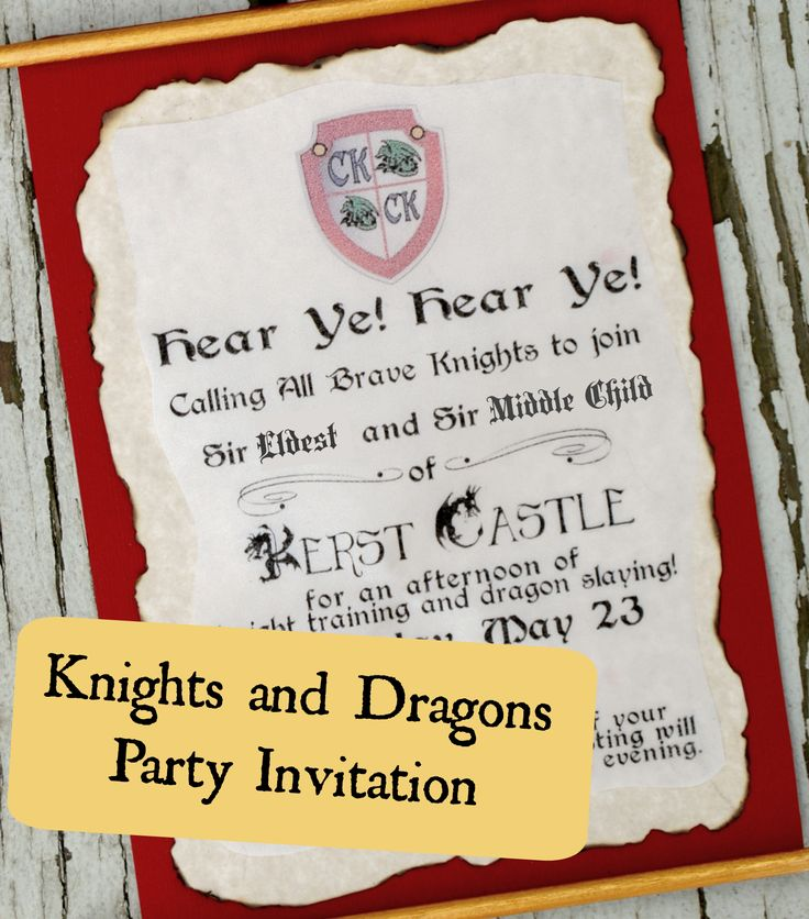 This Party Invite Is Perfect For Setting The Tone A Royal Knights And Dragons Birthday