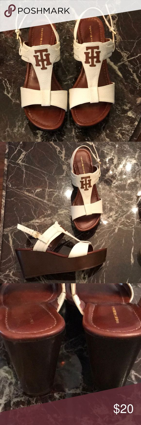 ONE HOUR SALE🎉 Tommy Hilfiger wedges White and brown leather wedges by Tommy Hilfiger.  Super cute, I wore them this past summer a couple of times.  Closet clean out....woo hoo! Tommy Hilfiger Shoes Wedges