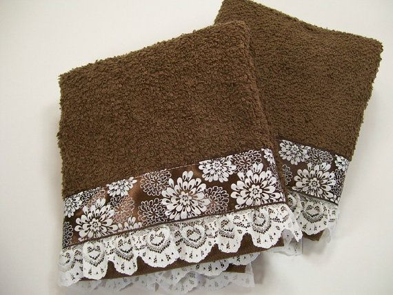 Hand Embellished Guest Hand Towel Set Bath Brown Lace Chrysanthemum Trim Hostess Gift Bathroom Home Decor