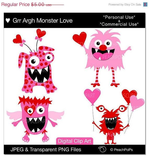 40 OFF SALE cute monsters clipart clip art door peachpopsclipart
