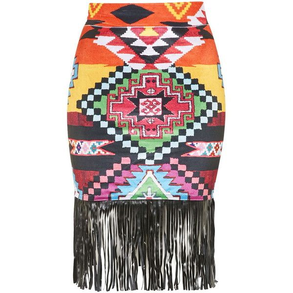 TOPSHOP **Multi Aztec Skirt by Jaded London ($58) ❤ liked on Polyvore featuring skirts, multi, bohemian skirt, bohemian style skirts, aztec skirt, boho skirt and topshop