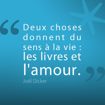 """""""Deux choses donnent du sens à la vie : les livres et l'amour"""" Joël Dicker"""
