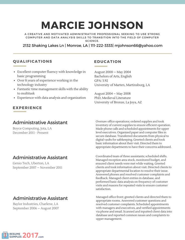 Resume Examples Career Change Career change resume