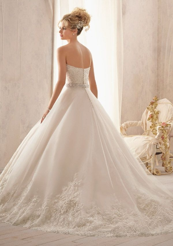 Bridal Gown From Mori Lee By Madeline Gardner Style 2621 Beaded Alencon Lace on Tulle with Wide Hemline