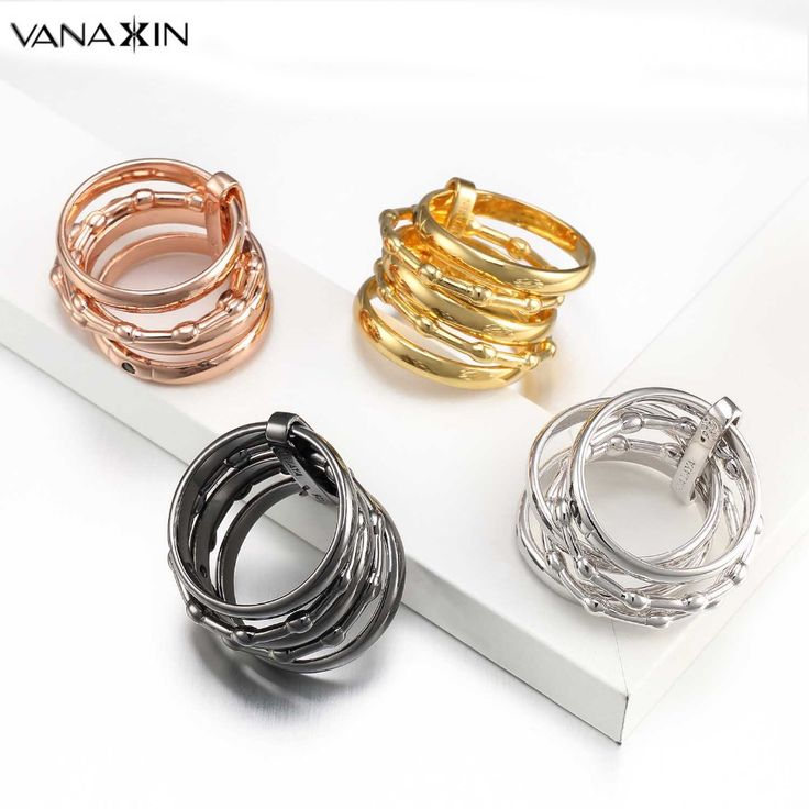 >> Click to Buy << VANAXIN Women's Unique Rings 925 Sterling Silver 5 Circle Interlocked Stacked AAA CZ Wide Statement Party Bijoux Accessories #Affiliate