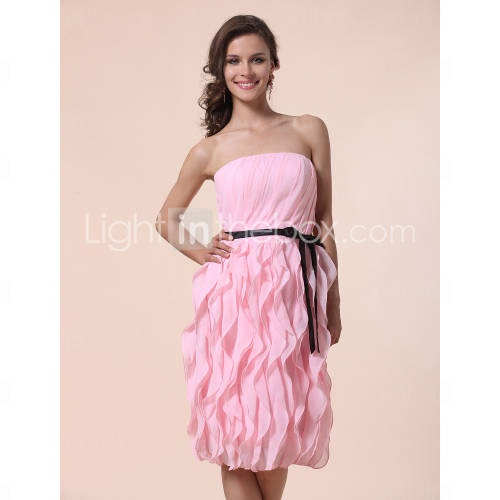 Sheath/ Column Strapless Knee-length Chiffon Bridesmaid Dress With Cascading Ruffle