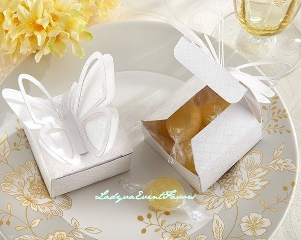 White butterfly favor box