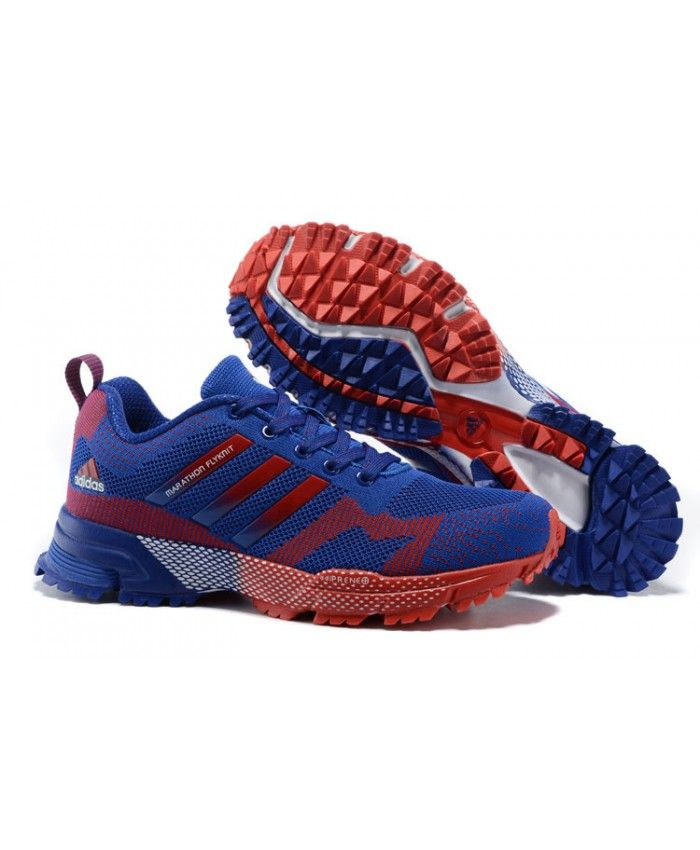 2015 Men's Adidas Marathon Flyknit Running Shoes Bold BlueCrimson