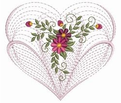 Rippled Floral Heart 2, 3 - 3 Sizes!   Floral - Flowers   Machine Embroidery Designs   SWAKembroidery.com Ace Points Embroidery