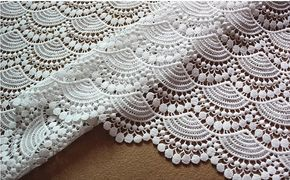 Crocheted Lace Fabric in Ivory.lace fabric by the by Retrolace