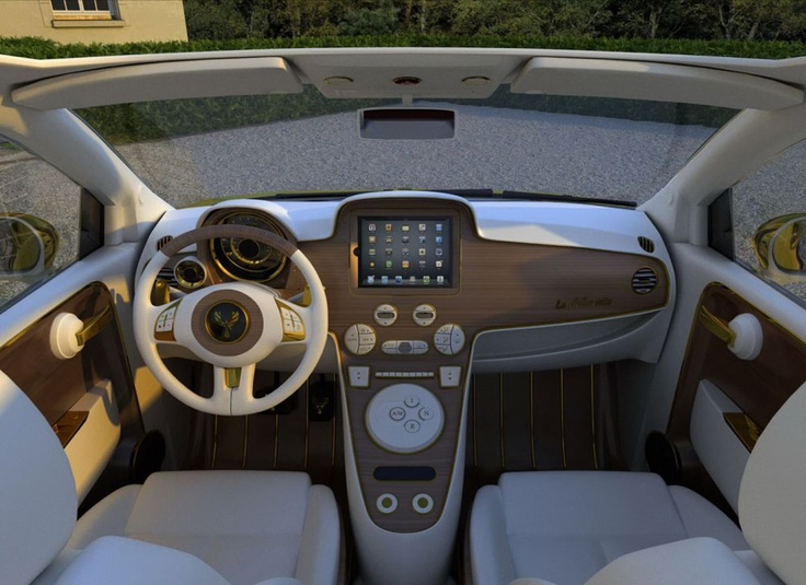 Interior of the Fiat 500c La Dolce Vita Gold and Diamonds 200hp by Fenice Milano