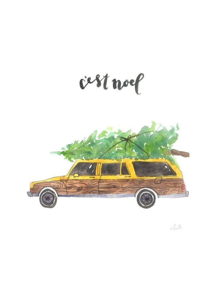 """My original watercolor piece """"c'est noel"""", which is french for """"it is Christmas"""". With a classic wagon and tree on top, of course! Printed on thick, HQ 100# matte poster paper OR you have the option t"""
