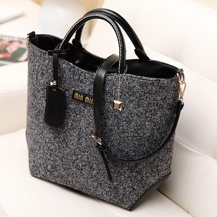 Fashion classical design woolen and PU women bag, leather handbag/ shoulder bag WLHB824