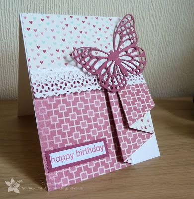 "This card uses the ""Pleated Skirt Fold"" • must find a tutorial although I think I can already see how it was done. I like how the flip side of the paper was used for the top section."