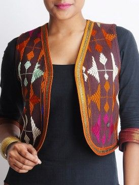 Brown-Multi-Color Cotton Bagh Jacket