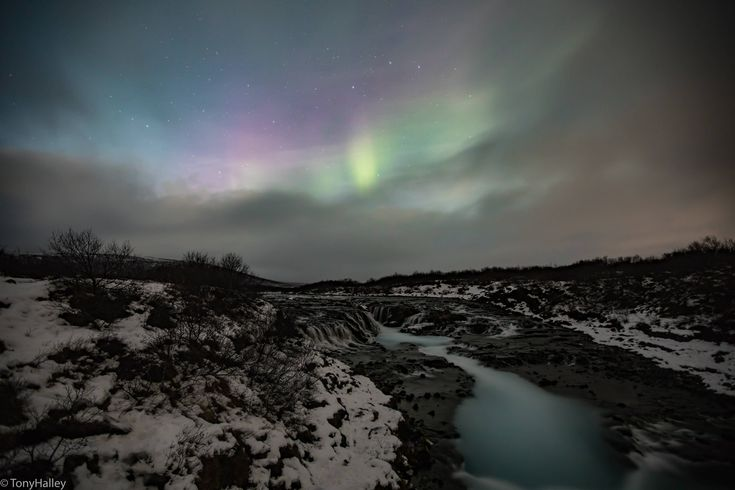 Sheer luck I was able to capture The Northern Lights while at Bruarfoss. [OC][6720x4480]