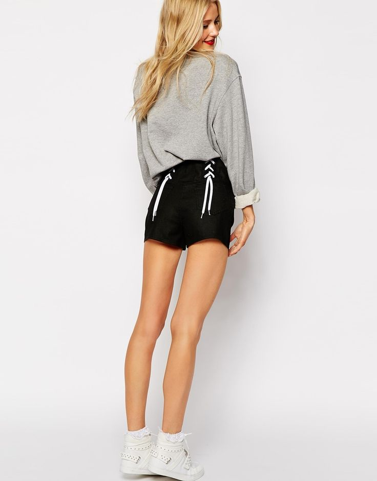 Love Moschino Mini Shorts with Zip and Lace Detail to Back