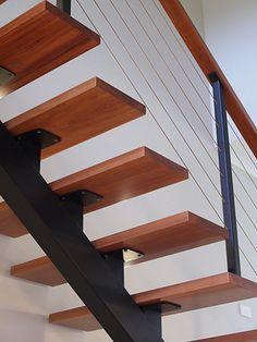 steel stringer wood tread stair - Google Search