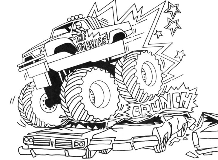 Grave Digger Crushing Cars Coloring Page