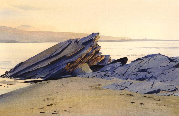Rocks near Cwt Powdr, an original watercolour painting by Rob Piercy