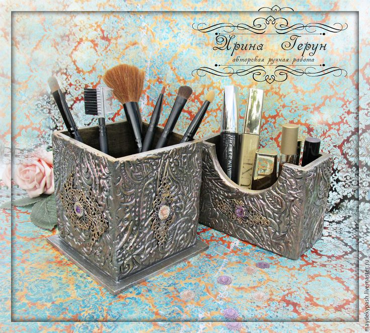 """Купить Набор подставок """"Кружевная фантазия"""" - серебряный, подставка, карандашница, подставка для карандашей, подставка для бумаг"""